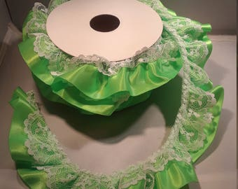8 Yard Roll of Ruffled Light Green Satin Ribbon with White Lace Trim