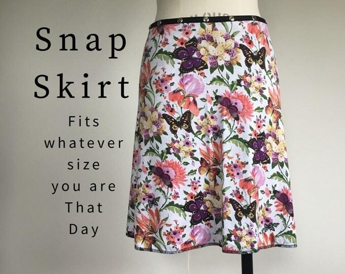 Adjustable Snap Wrap Skirt, Floral spring travel skirt, Erin MacLeod, diet skirt, teacher skirt, flower butterfly