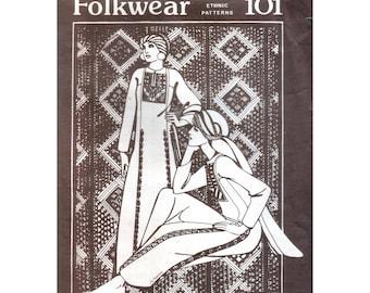 70s Uncut Folkwear Gaza Dress Pattern Tunic Dress pattern vintage Caftan pattern Belly Dance pattern Kameez pattern Folkwear 101