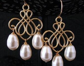 SALE Ivory Pearl Chandelier Earrings