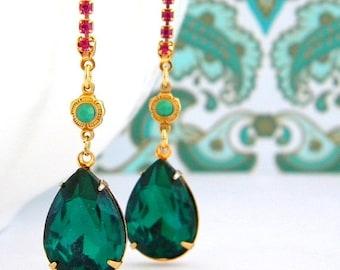 SALE Swarovski Fuchsia Pink Emerald Green Rhinestone Earrings