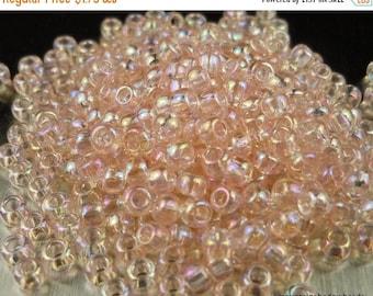 "20% Summer SALE Seed Beads 8/0 Toho - Trans Rainbow Rosaline  -  2.5"" Tube"