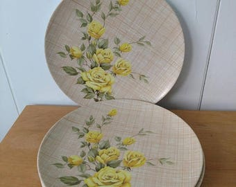 LOVE SALE 4 vintage yellow rose melmac dinner plates Texas Ware