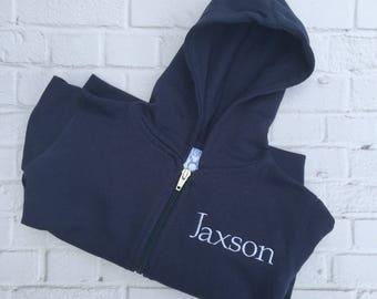 Personalized Monogrammed Infant Zip Hoodie | Navy Blue Baby Zip Hoodie | Baby Full Zip Fleece Hoodie | Boy Baby Long Sleeve Sweatshirt