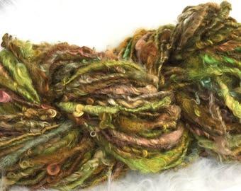 Art Yarn Handspun yarn  AUTUMN AIR- bulky, textured, crochet, knitting, weaving, supplies, prop yarn, waldorf doll hair 62yds Free Shipping