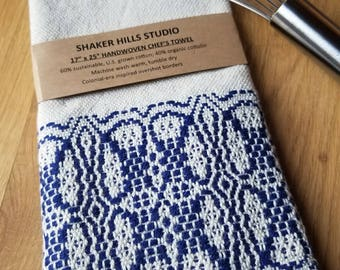 Foodie Kitchen Towel Handmade Sustainable Organic Cotton Linen Navy Blue