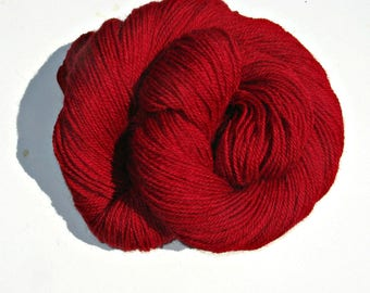 Red Alpaca and Wool Yarn, 3 ply Sock Yarn, 250 yards, Farm Grown and Made in Michigan, Free Shipping