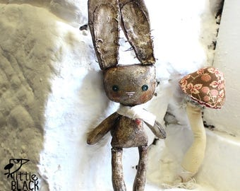 White Rabbit, Cloth Doll, Hand Painted, Gift For Her, Gift For A Doll Collectible