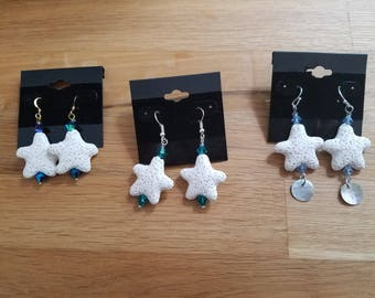 White Starfish made from Lava stone - earrings on sterling silver wires