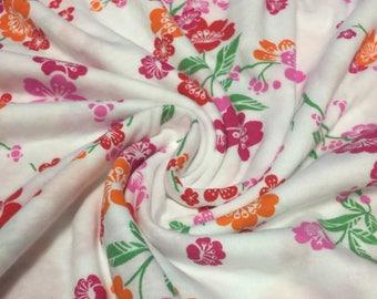 Cotton Knit Floral  Print Fabric