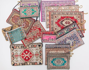 Buy 4 Turkish Woven Bags Get 1 FREE, Ethnic Bohemian Style Zippered Bag, Turkish Carpet Design Tapestry Bag