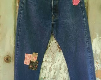 Perfectly Patched Levi 501s 32x30