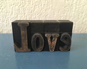 Vintage Wood Letter Press Letters LOVE
