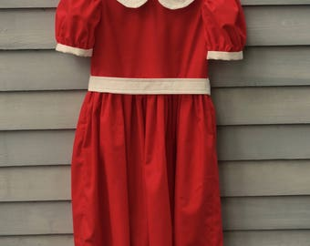 Girl, size 4/5, Li'l Orphan Annie dress, red and white.