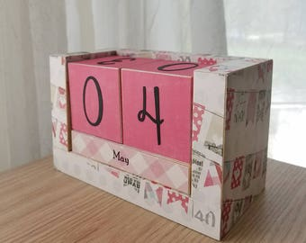 Perpetual Wooden Block Calendar - Pink and Gray Party Banners - Bunting Flags - Ready to Ship - Gifts for Her - Dorm Essentials