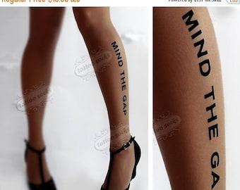 30%off/endsJUL23/ naughty MIND the GAP Tattoo thigh-high nylons deep mocha