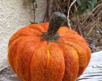 KIT SALE Felted mini Pumpkin, Fall pumpkin decoration Thanksgiving Halloween, orange pumpkin, custom color purple blue white green red yello