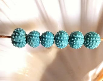 matte turquoise blue sea urchin beads - choose quantity -  handmade porcelain ceramic 5/8 to 3/4""