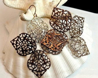 Christmas In July 40% Off Copper Lace Filigree Dangle Earrings Vintage Copper Lace Earrings Copper Filigree Earrings Lace Metal Earrings