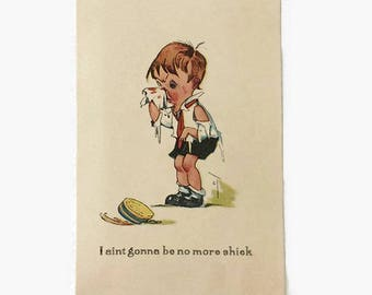 Vintage Charles Twelvetrees Postcard, Illustrated Valentine Post Card, I aint gonna be no more shiek, Boy with Bloody Nose Comic
