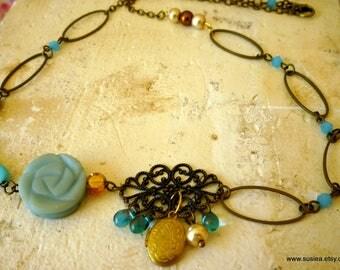 Boho Locket Charm Amazonite Rose Carved Bead Link Necklace