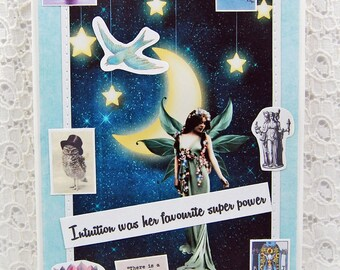 "Intuition Was Her Favourite Super Power Greeting Card comes w 1"" Pin Back Button-Fairy Card-Goddess Card-High Priestess Card-Follow Your Gut"