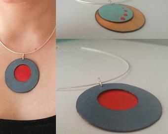 Rosalie, sterling, enamel double-sided necklace