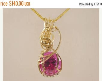 Moving Sale 40% Off 14K Rolled Gold and Sterling Silver Deep Pink Topaz Pendant
