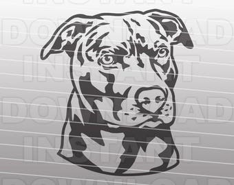 Pit Bull SVG File,Rescue Dog SVG File-Vector Clip Art for Commercial & Personal Use-Cricut,Cameo,Silhouette,Vinyl,Decal,Heat Transfer