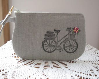 Antiquebasketlady, Handstamped Linen Wristlet,  Clutch, Zipper Gadget Pouch, Retro Bicycle, Hand Embroidered, Made in USA