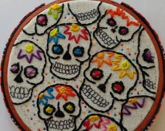 Sugar Skull Embroidery Art