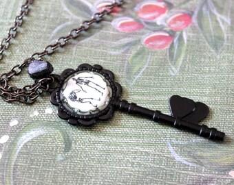 Skeletons Cabochon Skeleton Key Necklace with Raw Black Tourmaline - Halloween Witch Goth