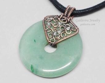 SALE - Aventurine Donut with Copper and Quartz Pendant Necklace
