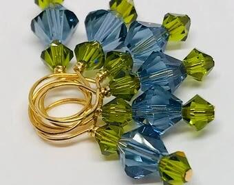 Stitch Markers Denim Blue and Olivine Swarovski Crystal