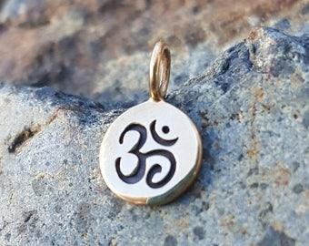 ON SALE TODAY Tiny Om Symbol Charm - Small Gold Tone Bronze Aum