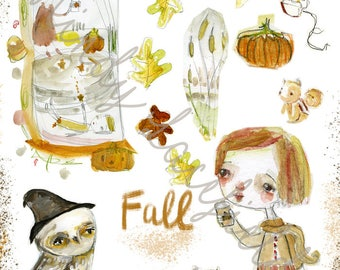 Time for Fall journaling collage sheets - by Mindy Lacefield