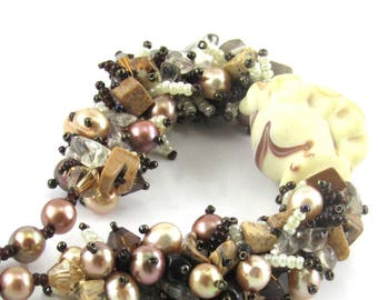 Jasper and Pearl Necklace, Beaded Necklace, Lampwork