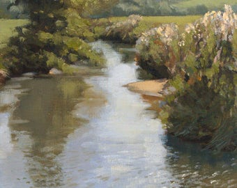 Late Summer Day, landscape plein air oil painting 9x12in