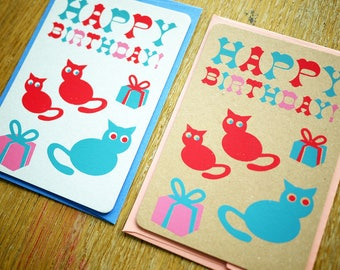 Screen printed  kitty HBD card with envelope