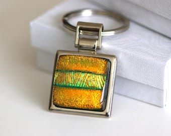 Gold Stripe Key Ring Dichoric Glass Key006, Accessories, Keychains, Fused Glass