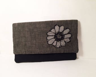 Gray and black Fold over Clutch -Flower Applique