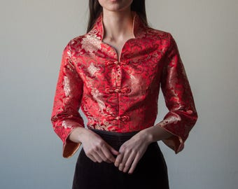 red satin asian blouse / stand up collar embroidered top / chinese top / 3102t / s / m / B18