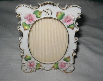 Lefton China  photo frame with pink roses