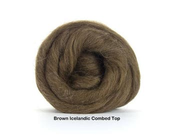 4 oz Brown Icelandic Combed Top, Wool, Roving to Spin, Felt, Knit, Create Fiber Art, Natural color