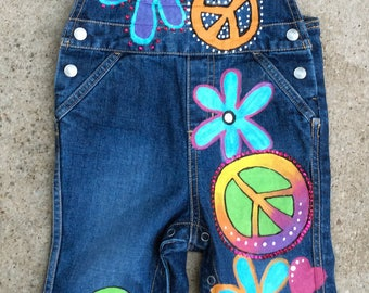 Custom Overalls, Rainbow Hippie Hand Painted Denim, Peace Signs, Flowers, Boho Baby Clothes, Customized Birthday Outfit for Toddler Girls