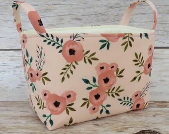 Storage Fabric Organizer Bin Container Basket - Dusty Pink Flowers Posies Floral on Light Pink Fabric