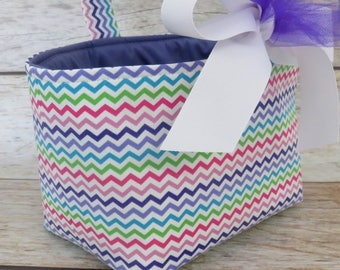 Easter READY TO SHIP - Fabric Basket Bin Bucket Candy Egg Hunt Storage Container - Purple Pinks Green Blue Chevron Fabric