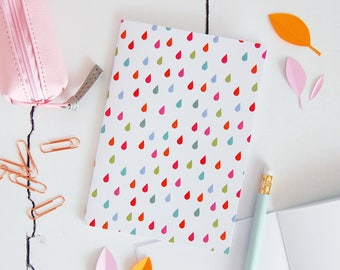 Raindrop Pattern Notebook – Rainbow Colour Jotter – Cute Raindrop Planner – Rain Pattern Pocket Book - Raindrop Doodle Book