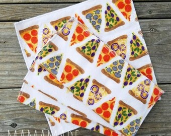 Lunchbox Napkins | Pizza | Cloth Napkins | Cloth Wipes | Reusable Napkins from green by mamamade