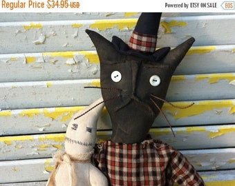 CustomerAppreciationSale Primitive Halloween Witch Cat Miss Scaredy and her Pet Boo